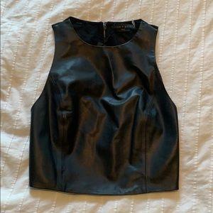 NWT black leather Alice + Olivia crop top